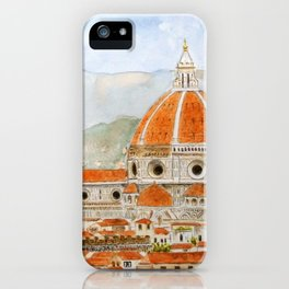 Italy Florence Cathedral Duomo watercolor painting iPhone Case