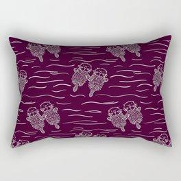 Sea Otters on Dark Raspberry Rectangular Pillow