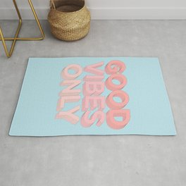 Good Vibes Only sky blue peach pink typography inspirational motivational home wall bedroom decor Rug