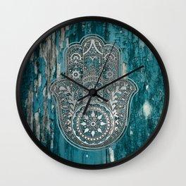 Silver Hamsa Hand On Turquoise Wood Wall Clock