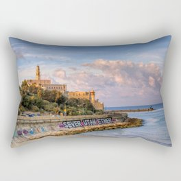 Graffiti on the old city wall of Jaffa, Israel Rectangular Pillow