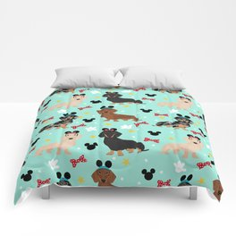 dachshund theme park vacation dogs Comforters