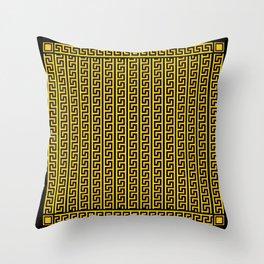 Greek Key Full - Gold and Black Throw Pillow