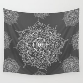 Gray mandala Wall Tapestry