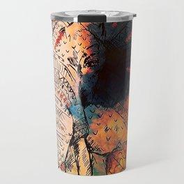 Indian Sketched Elephant Red Orange Travel Mug