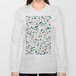Terrazzo Turquoise Pattern Long Sleeve T-shirt