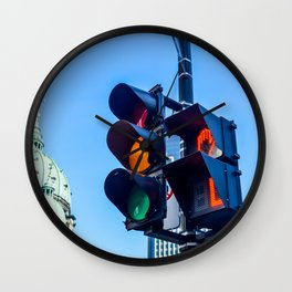 Orange color on the traffic light in Montreal Wall Clock