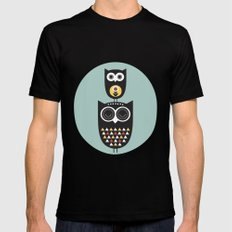 Owl décor - modern nursery art - geometric pattern Black SMALL Mens Fitted Tee