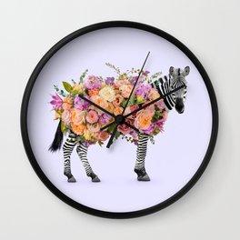 FLORAL ZEBRA Wall Clock
