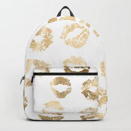 Girly Fashion Lips Gold Lipstick Pattern Backpack
