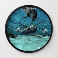 submarine Wall Clocks featuring Submarine  by nicky2342