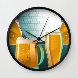 beer pint and mug in disco Wall Clock
