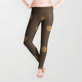 Umber Gold Glitter Dot Pattern Leggings