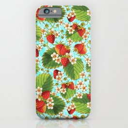 Botanical Strawberries iPhone Case