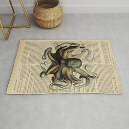Book Art Octopus Color Rug