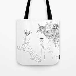 Minimal Drawing of Woman with Flowers in Hair - Black and White Tote Bag