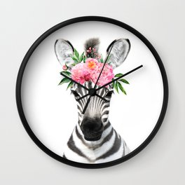 Baby Zebra with Flower Crown Wall Clock