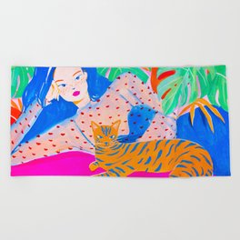 Girl Relaxing with Cat Beach Towel