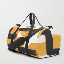 Mid Century Abstract Black & Yellow Fun Pattern 60's Ripple Mustard Color Trippy Maze Duffle Bag