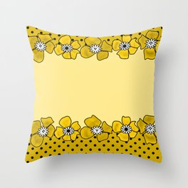 Yellow floral pattern . Throw Pillow