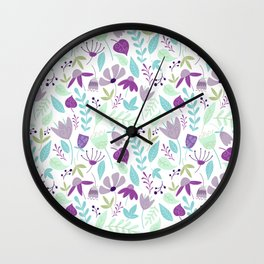 Flowers Make Me Happy Pattern Wall Clock