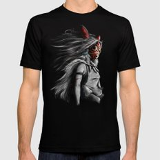 Miyazaki's Mononoke Hime Digital Painting the Wolf Princess Warrior Color Variation Black LARGE Mens Fitted Tee