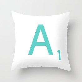 Blue Scrabble Letter A Throw Pillow