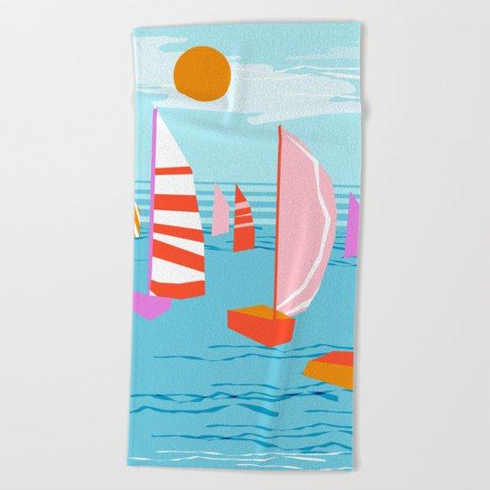 Quepasa - memphis throwback retro minimal modern neon boating yacht club sailing summer sport Beach Towel