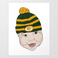 packers Art Prints featuring Baby Packers by Miakoworld