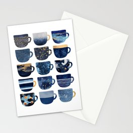 Pretty Blue Coffee Cups Stationery Cards