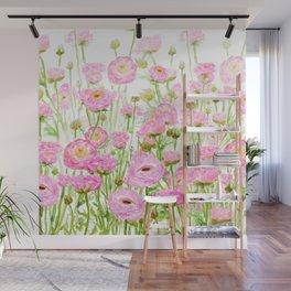 pink buttercup ranunculus field watercolor Wall Mural