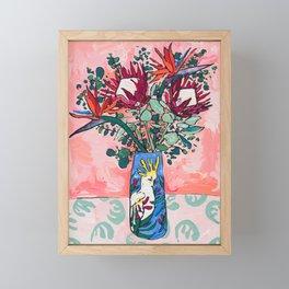 Cockatoo Vase on Painterly Pink Framed Mini Art Print