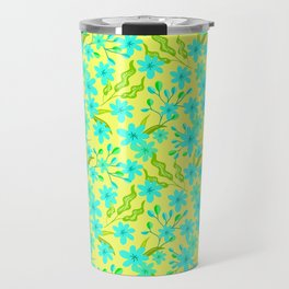 Beautiful spring baby blue flowers, delicate leaves floral fabric yellow bright feminine patten Travel Mug