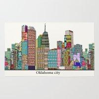 oklahoma Area & Throw Rugs featuring oklahoma city skyline by bri.buckley