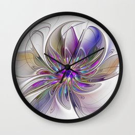 Energetic, Abstract And Colorful Fractal Art Flower Wall Clock