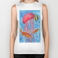 jelly fish Biker Tanks featuring Jelly Fish by Julie M Studios