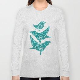 Handmade Block Print of Turquoise Birds Long Sleeve T-shirt