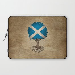 Vintage Tree of Life with Flag of Scotland Laptop Sleeve
