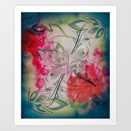 Red Abstract Flower  Art Print