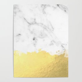 Gold spill on marble Poster