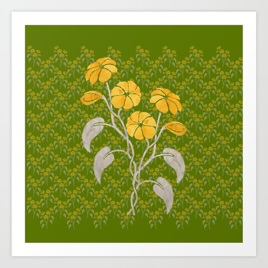 Flowers Green Pattern Art Print