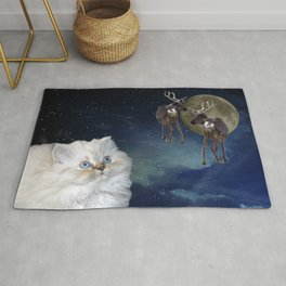 Cat and Reindeers Rug