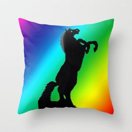 Rearing Horse Spectrum Throw Pillow