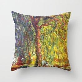 12,000pixel-500dpi - Claude Monet - Weeping Willow - Digital Remastered Edition Throw Pillow