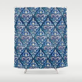Persian Floral pattern blue and silver Shower Curtain