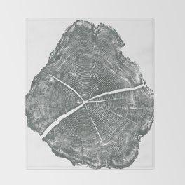 Locust Tree ring image, woodcut print Throw Blanket
