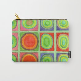 Green Grid filled with Circles and intense Colors Carry-All Pouch