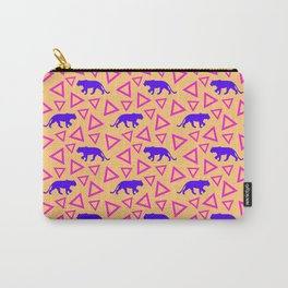 Wild African walking purple lion silhouettes and abstract triangle shapes. Stylish classy warm sunny pastel peach orange retro vintage geometric animal nature pattern. Carry-All Pouch
