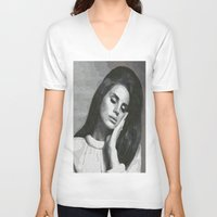 cocaine V-neck T-shirts featuring cocaine heart by Grace Teaney Art
