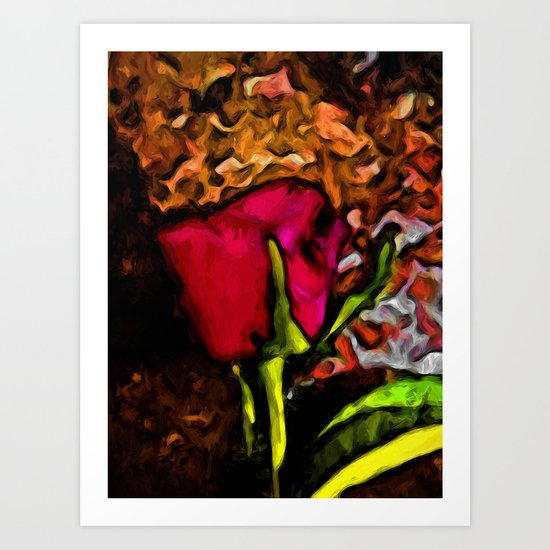 Red Rose and Green Leaf with some Brown Art Print
